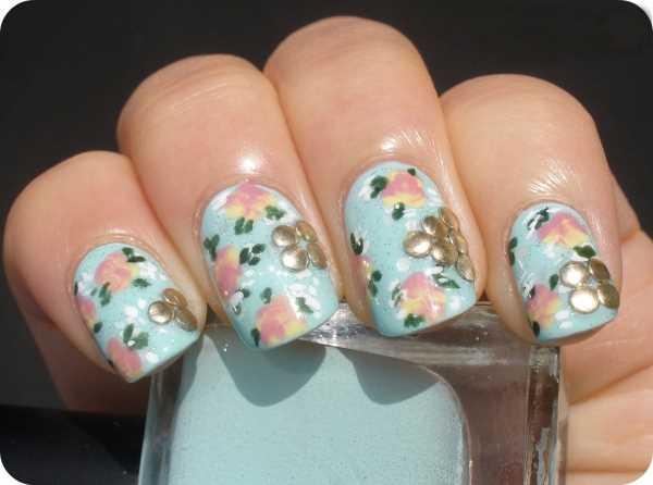 14224__600x1240_floral-wedding-nail-art13 Идеи свадебного маникюра в цветочной тематике