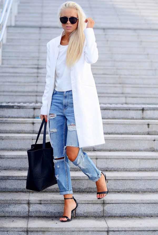 с чем носить рваные джинсы 2014