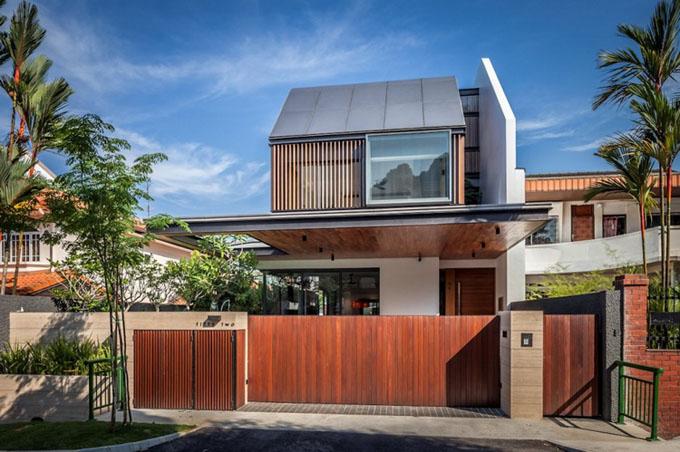 Сложный современный дизайн загородного дома в Сингапуре