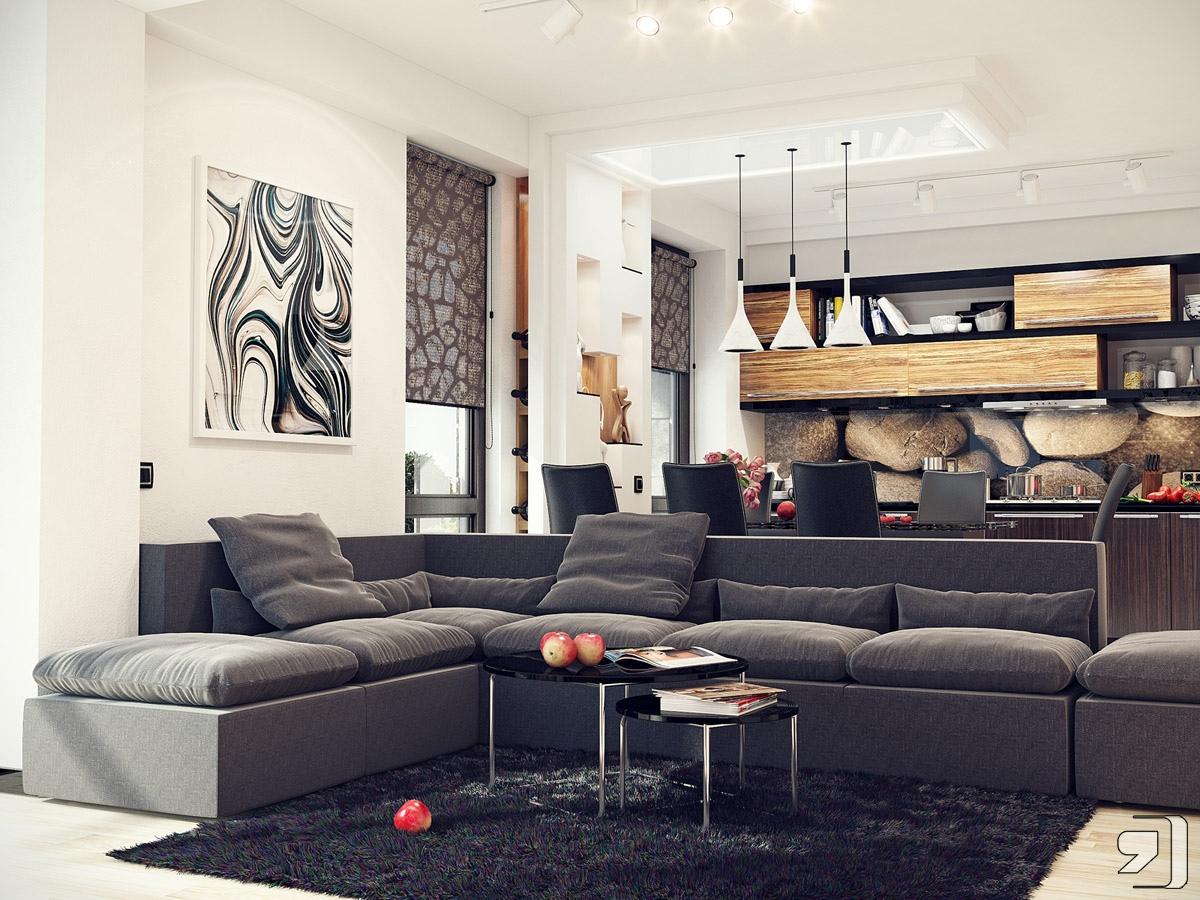 Современный стильный интерьер гостиной в бежевых тонах