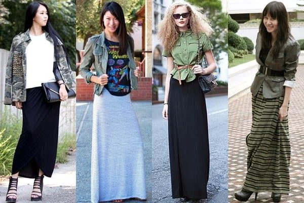 Юбка макси: Как носить длинную юбку с верхней одеждой